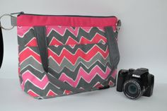 Camera  Bag Purse in Pink zig zag chevron with grey / Adjustable messenger strap, padded purse insert...handmade in the USA  by Darby Mack