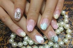 Huggable hearts and teddy bears - nail art manicure. ☆ラブリーモコモコフレンチ☆