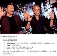Tom Felton and Jason Isaacs = Draco and Lucius Malfoy - eviiiiiiiiiil + better roots.   17 Actors Who Are Basically Their Characters IRL