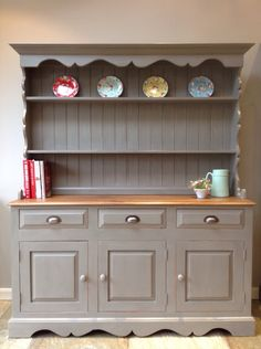 Large Rustic Painted Country Solid Pine Welsh Dresser Kitchen Cabinet Unit Painted Annie Sloan French Linen Grey by ClyneCoFurniture on Etsy