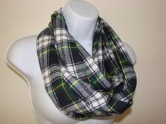 Green navy Plaid Infinity Scarf Yellow Medium by OtiliaBoutique, $26.50