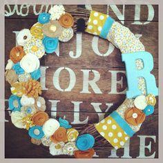 Felt fabric wreath, fabric flower wreath, burlap wreath, monogram wreath, grapevine wreath, teal and mustard wreath on Etsy, $38.00
