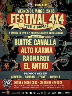 Festival 4x4 - Buitre Canalla / Alto Karma / Ragnarok / El Antro Con ustedes el festival más arrasador y copetero de Mendoza.  ➢ 4 bandas en vivo y 4 promociones de chupeteee.  ➢ Anticipadas $50 con un Sodeado ... http://sientemendoza.com/event/festival-4x4-buitre-canalla-alto-karma-ragnarok-el-antro/