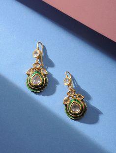Green Enameled Polki Gold Earrings