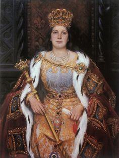 Królowa Jadwiga Andegaweńska (Queen Jadwiga of Anjou) byAleksander Augustynowicz,