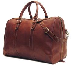 Floto Roma Duffle Saddle Brown Italian Leather Weekender Travel Bag *** You can get more details by clicking on the image. Leather Backpack For Men, Leather Duffle Bag, Duffle Bags, Leather Backpacks, Leather Bags, Leather Handbags, Italian Leather, Tan Leather, Travel Bags