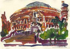South steps at The Royal Albert Hall Hall Painting, Travel Sketchbook, Artist Journal, Royal Albert Hall, Urban Sketching, London City, Taj Mahal, Journals, Sketches