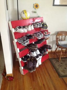 red color pallet diy shoe rack, this would be cool in the garage