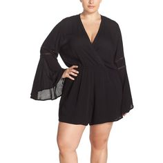 Elan Bell Sleeve Romper ($70) ❤ liked on Polyvore featuring plus size women's fashion, plus size clothing, plus size jumpsuits, plus size rompers, black, plus size, long-sleeve rompers, playsuit romper, long sleeve rompers and plus size jumpsuits rompers