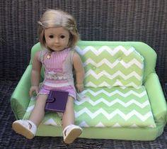 Make a cute Sofa for 18 inch dolls ~ American Girl Doll crafts