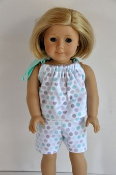 18f65f245a SALE Teal and Gray Polka Dot Print Baby Doll Style Flannel Pajamas PJ s 18  inch Doll Clothes