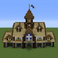 minecraft town hall medieval grabcraft blueprints buildings number source tips floorplans