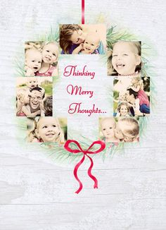 Photo Wreath Thoughts Photo Holiday Card