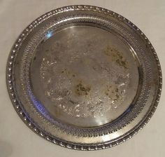 """Antique silver serving tray platter 12"""" 