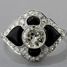 This would make an awesome detail for a deco cake!  Diamond Engagement Ring Black Onyx Art Deco Style, 1920's