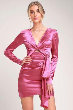 639d1f1611 Pulse of the Night Hot Pink Satin Cutout Mini Dress