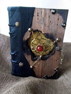 Bookbinding wood leather black journal secret by DreamingOldBooks