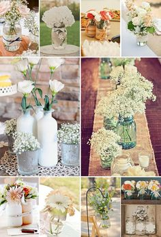 We could totally do mason jars! Flower Centerpieces, Table Centerpieces, Wedding Centerpieces, Wedding Table, Diy Wedding, Flower Arrangements, Rustic Wedding, Wedding Flowers, Dream Wedding