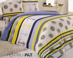 Set cuvertura pat pentru o persoana Anatolia blue & yellow Blue Yellow, Comforters, Blanket, Bed, Home, Creature Comforts, Quilts, Stream Bed, Ad Home