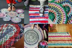 Upcycle your old clothing and t-shirts into practical rugs and mats. I've got 7 handy ideas for how to make a rag rug with links to instructions and videos. Diy And Crafts Sewing, Crafts To Sell, Sewing Ideas, Diy Crafts, Fabric Scraps, Scrap Fabric, Fabric Rug, Recycled Fabric, Recycled Art