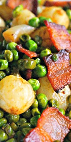 Pearl Onions, Peas and Bacon Medley