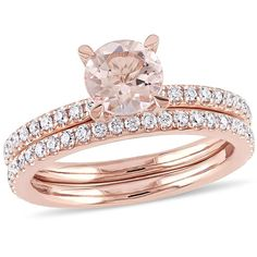 Delmar Jewelers 1.6ctw Morganite and Diamond Engagement Ring and Wedding Band 14K Rose Gold 2-piece Bridal Set