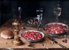 Osias Beert 1580-1623. Still life with cherries and strawberries in Chinese porcelain dishes. 1608. Berlin Gemäldegalerie.