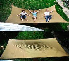 The giant hammock is indeed a megahammock which spans 15 feet x 8 feet and can easily fit up to 3 humans, or 1 obese human along with maybe a dog. With the ability to fit three people on it you ...