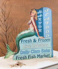 Another great find on #zulily! Large Retro Mermaid Advertising Sign #zulilyfinds