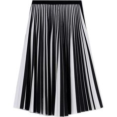 Proenza Schouler Black & White Pleated Midi Skirt (148.415 RUB) ❤ liked on Polyvore featuring skirts, proenza schouler, midi skirt, knee length pleated skirt, wool pleated skirt and calf length skirts