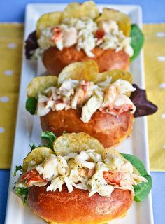 Maine lobster rolls stuffed with potato chips