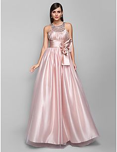 A-line Jewel Floor-length Stretch Satin And Tulle Evening/Pr... – USD $ 149.99