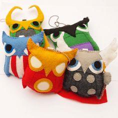 Avengers Owls Felt Ornament Set by IamCraftish on Etsy, $65.00