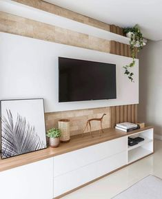 """Espaços decorados on Instagram: """"Um belíssimo painel de tv, com revestimento de tijolinhos que eu amo... ❤️ ⠀ ✍🏻 Autoria: @archfyarquitetura e fotografia de @amaurifujii…"""""""