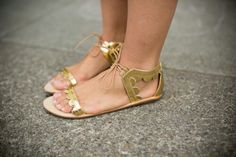 Golden sandals flats Gal meets glam