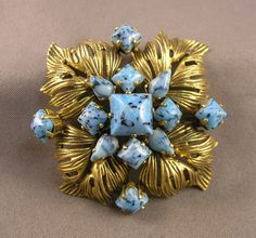 Vintage 1963 Christian Dior Made in Germany Brooch Faux Turquoise Art Glass   eBay