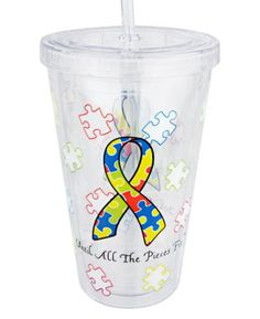 Until All the Pieces Fit- Autism Awareness Travel Cup with Straw - Sharonsweb #AutismAwareness
