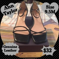 """Ann Taylor Black Strappy Open Toe Sandals.  SZ 9.5 Like Brand New, Ann Taylor Black Genuine Leather Open Toe Sandal. Size 9.5M Worn Once, For About 5 Hrs. Perfect Condition.  Condition Scale 9/10.  The Soles Show Very Little Wear. There Are No Scuffs, Scratches Or Imperfections On The Leather.  Heels Are Between 2""""-2.5"""".  THIS IS AN AWESOME BUY!!! Ann Taylor Shoes Sandals"""