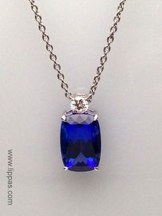 Lippa's Estate and Fine Jewelry - Custom Made Cushion Tanzanite and Diamond Pendant