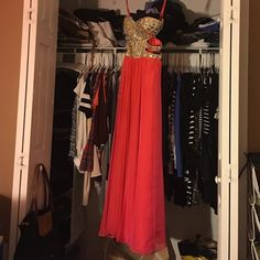La Femme Strapless Prom Dress Coral studded prom dress with side cutouts La Femme Dresses Prom