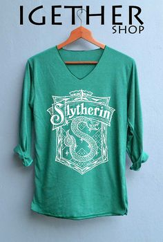 FINAL_NEW Slytherin Shirt Harry Potter Shirts V-Neck Green Unisex Adult Size S M L