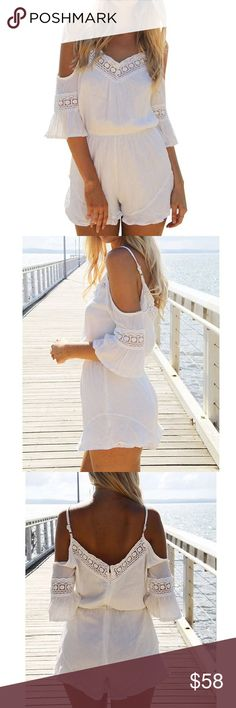 Blackless Romper Spaghetti Strap Short Chiffon                                                                  V Neck, Sleeveless  Backless, Spaghetti strap  Suit For beach, outdoor, summer party Pants Jumpsuits & Rompers
