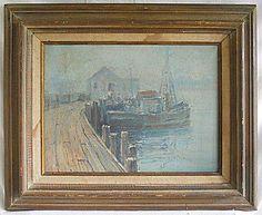 Vintage Painting R Hilker New England Marine Landscape Pelman N.H. Harbormaster