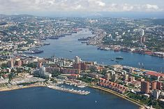 Center of Vladivostok and Golden Horn Bay