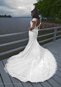 Bride on the dock at Travis Pointe on Lake Norman NC http://travispointenc.com