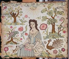 Embroidered panel depicting a lady in a garden, c.1700 (silk)