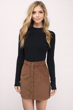 Classic Brown Suede Skirt With a Simple Black Top