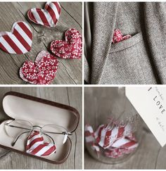 Valentines ideas for boys - sew a bunch of little hearts and hide them all around the house for him to find.