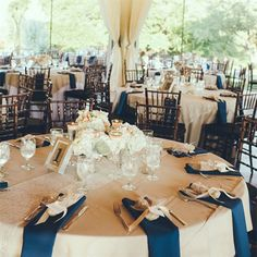Cream and Navy Tablescapes