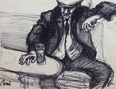 Norman Cornish - Man sat at table smoking and drinking is available for sale at Castlegate House Gallery. Norman Cornish, Paintings For Sale, Sketchbooks, Smoking, Drinking, Contemporary Art, Identity, Gallery, Table